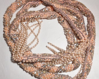 Antique Art Deco Beaded Necklace Rope Belt Lariat Rhinestone 1920s Flapper Jewelry pink pearls
