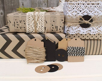 Black & Kraft Printed Wrapping Paper Kit