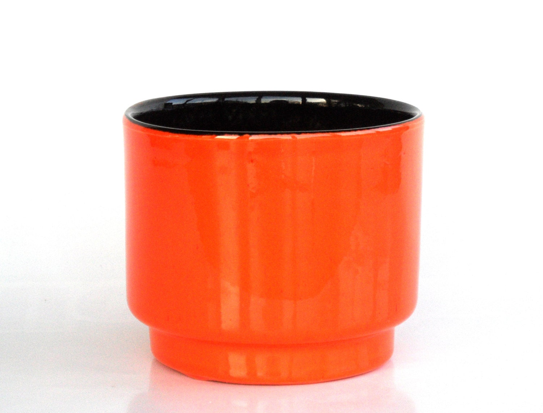 Bright orange ceramic planter west german pottery plant pot for Garden pot