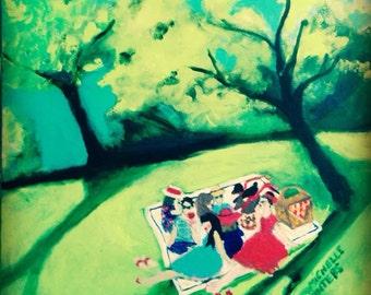 Summer Picnic, orginal signed painting