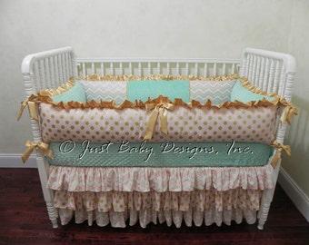 Custom Baby Bedding Set Ilana - Girl Baby Bedding, Gold Baby Bedding, Pink and Gold Crib Bedding, Ruffle Skirt