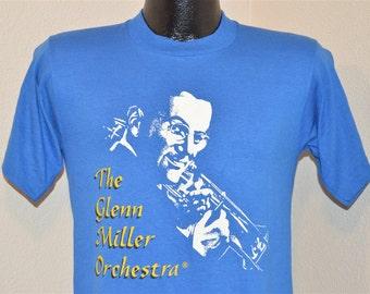 80s Glen Miller Orchestra Big Band Blue Vintage t-shirt Small