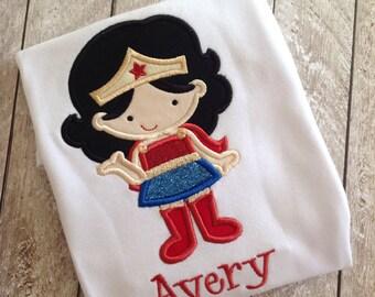 Wonder Woman inspired ruffle shirt