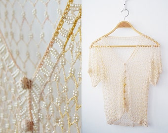Knitted pearl beads Blouse 20's - 30's Cropped Top Unique Ivory clolr Sheer Tank  FREE shipping