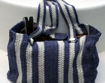 Dark Blue and Gray make this vertical striped tote ready for work or play.  Distinguished and practical and just the right size.