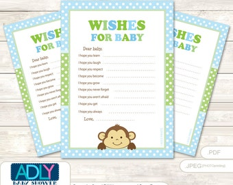Boy Monkey Wishes for a Baby Shower, Well Wishes Green Baby Monkey Shower DIY Polka-ao120bs6