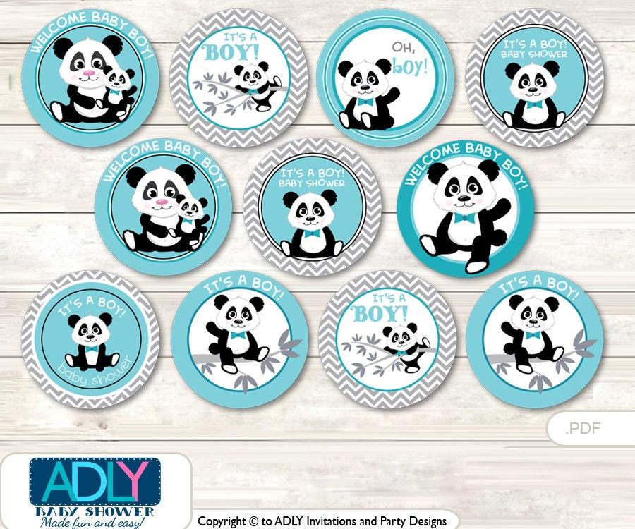 Boy Panda Cupcake Toppers For Baby Shower Printable Diy Favor