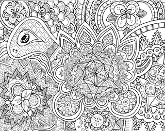 items similar to colouring sheet zen doodle instant download pdf abstract art zentangle inspired. Black Bedroom Furniture Sets. Home Design Ideas