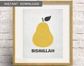 Instant Download! Bismillah Eat Islamic Dua. Scandinavian Rustic Design. Digital Download DIY