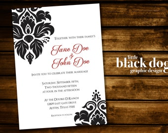 Plain & Simple Damask Wedding Invitation