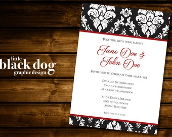 Red and Black Damask Wedding Invitation