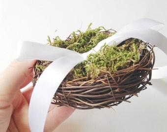 Nest and moss ring bearer pillow, woodland wedding, twig nest, natural wedding, woodland ring pillow, nest ring pillow, white ribbon pillow