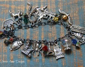 Witches, Wizards and Magic Charm Bracelet, Mixed Metal, Unique Charm Bracelet, Geek Bracelet, Fairy Tale, Magic, Gift Idea
