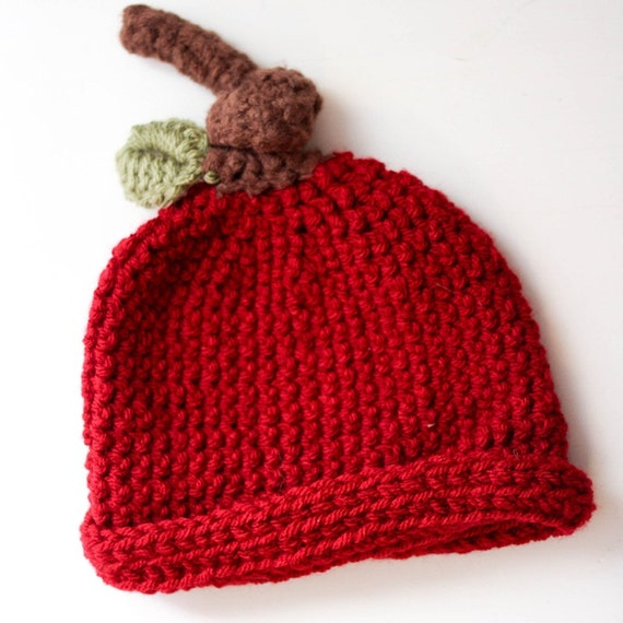 Apple Hat Knitting Pattern : Apple Crochet Hat