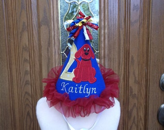 Girls 1st Birthday Hat - Clifford The Big Red Dog Theme