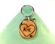 Personalized Couples Keychain, Wooden Keychain, Couple Keychain, Heart and Arrow, Wood Burned Keychain, Initials & Anniversary Date Keychain