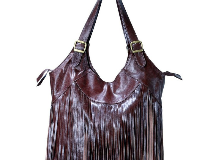 REDUCED PRICE!!! Big Fringe Dark Brown Leather Bag / Boho Chic