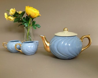 Vintage  Mid Century Blue Teapot Set, 40s 50s Swirled Blue and Gold Ceramic Teapot with Sugar and Creamer
