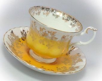 Royal Albert Fine Bone China Regal Series Yellow tea cup and saucer