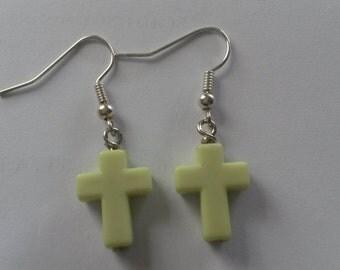 Classic cross earrings green earrings