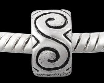 European Style Bead Charm for European Bracelet, Silver Plate, Stopper-Clip-Lock, Great gift Idea