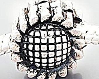 European Style Bead Charm for European Bracelet, Silver Plate,Stopper-Clip-Lock-Sunflower, Great gift Idea