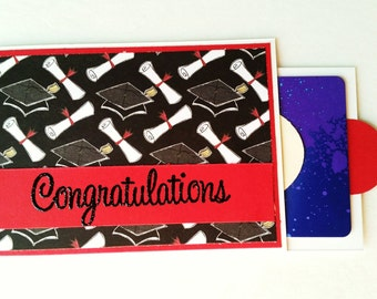 Congratulations gift card holder/gift card holder/Graduation gift/Congrats/Congratulations/pull tab gift card holder