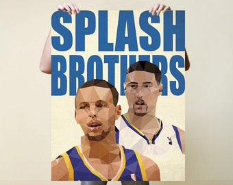 Splash Brothers, Print, Nursery, Baby, Gift, Poster, Illustration, Art, Painting, Poly, NBA, Stephen Curry, Klay Thompson Golden State