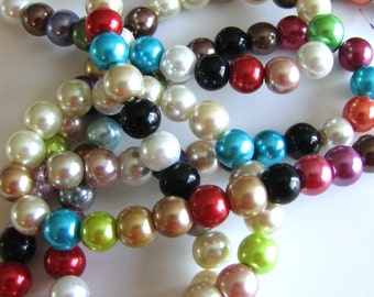 8 mm Assorted Colors Glass Pearls 16 inch strand count 57 beads, Multi Colored Pearls, # 575