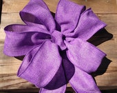 Purple Burlap look Wreath bow rustic country Chair Pew wedding gift package bows