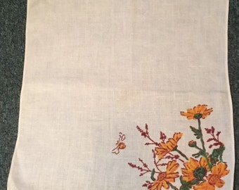 Cotton napkin with yellow flowers
