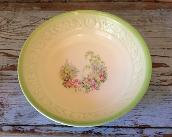 Vintage 1938 Homer Laughlin Serving Bowl with Garden Stream Scene and Embossed Fruit Border and Green Trim