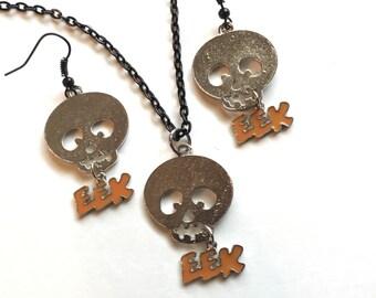 Halloween jewelry set, skull, eek, Halloween