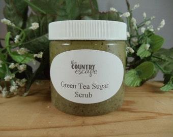 Green Tea Sugar Scrub- Avocado Oil- Exfoliation and Hydration