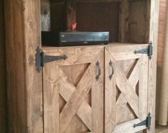 Rustic Corner TV Console - Entertainment center, dining hutch