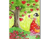 Postcard of whimsical girl with a tree of hearts colourful