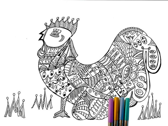 Coloring Pages For Adults Rooster : Items similar to adult coloring page rooster on etsy