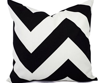 Two Large Chevron Decorative Pillows - Black and White Pillows - Black Pillows - Chevron Pillow - Black Pillows - 24 x 24 Inch Pillow Cover