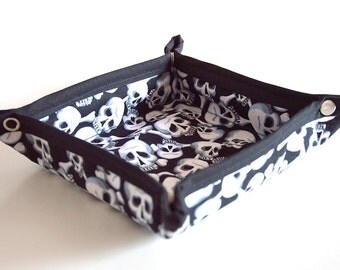 Black White Skulls Fabric Valet Tray Accessory Holder