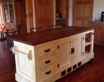 Industrial Style Distressed Antique White Kitchen Island with Eating Bar.