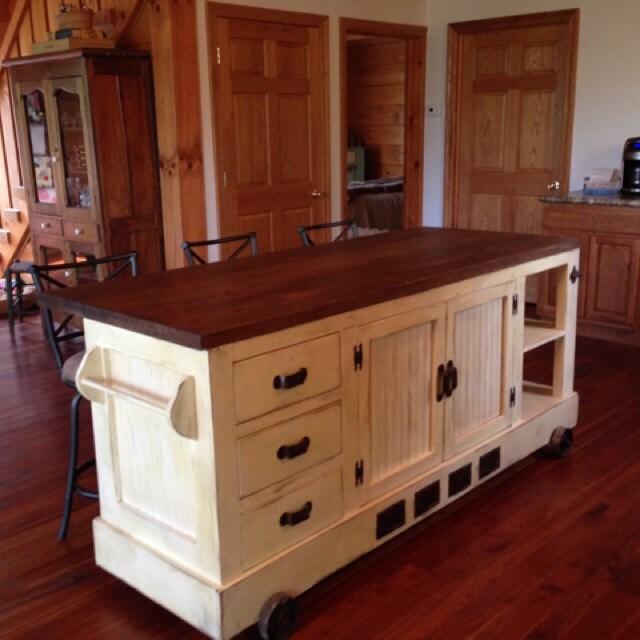 Industrial Style Kitchen Island: Custom Handmade Industrial Style Distressed Kitchen Island