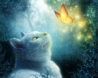 White cat artwork, white cat print, fantasy cat art, fantasy cat print, kitten art, butterfly art, magic butterfly, fantasy decor, wall art