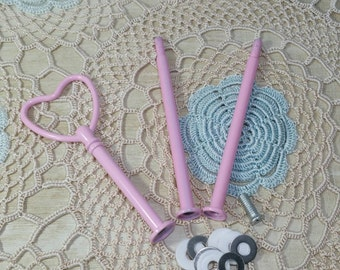 10 sets of 3 tier cake stand fittings with heart handle in pink, gold, silver or cream for 3 tier cake stands.