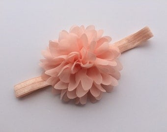 Peach chiffon flower headband large chiffon flower headband big flower headband large