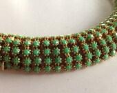 GORGEOUS Haute Couture William deLillo  Designer Serpentine Domed Crystal Rhinestone Bracelet Signed Wm deLillo