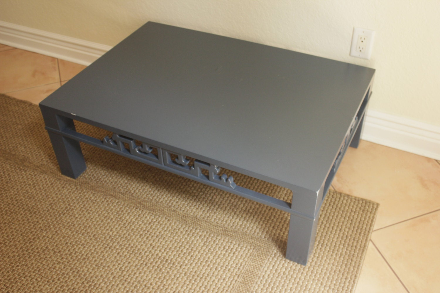 chinoiserie navy blue wood carved low coffee table ming