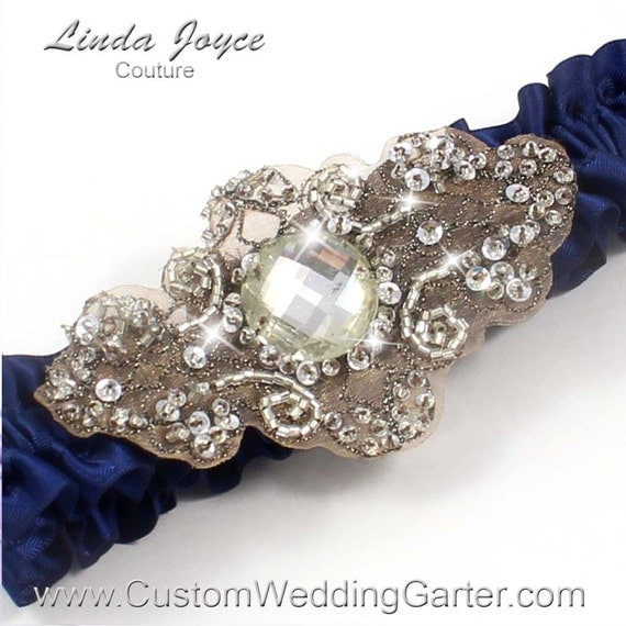Navy Blue Antique Vintage Wedding Garter By
