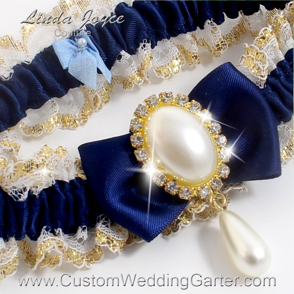 Navy Blue And Gold WEDDING GARTER Pearl By CustomWeddingGarter