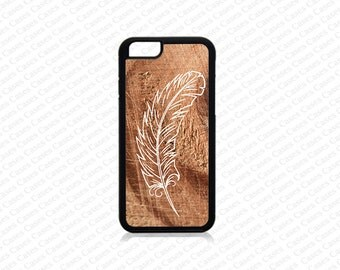iPhone 6/6s Plus Case, iPhone 6/6s Case, iPhone 5s case, Iphone 5 Case,Feather on wood print iPhone SE Cover,iPhone SE Case, iPhone 5c Case
