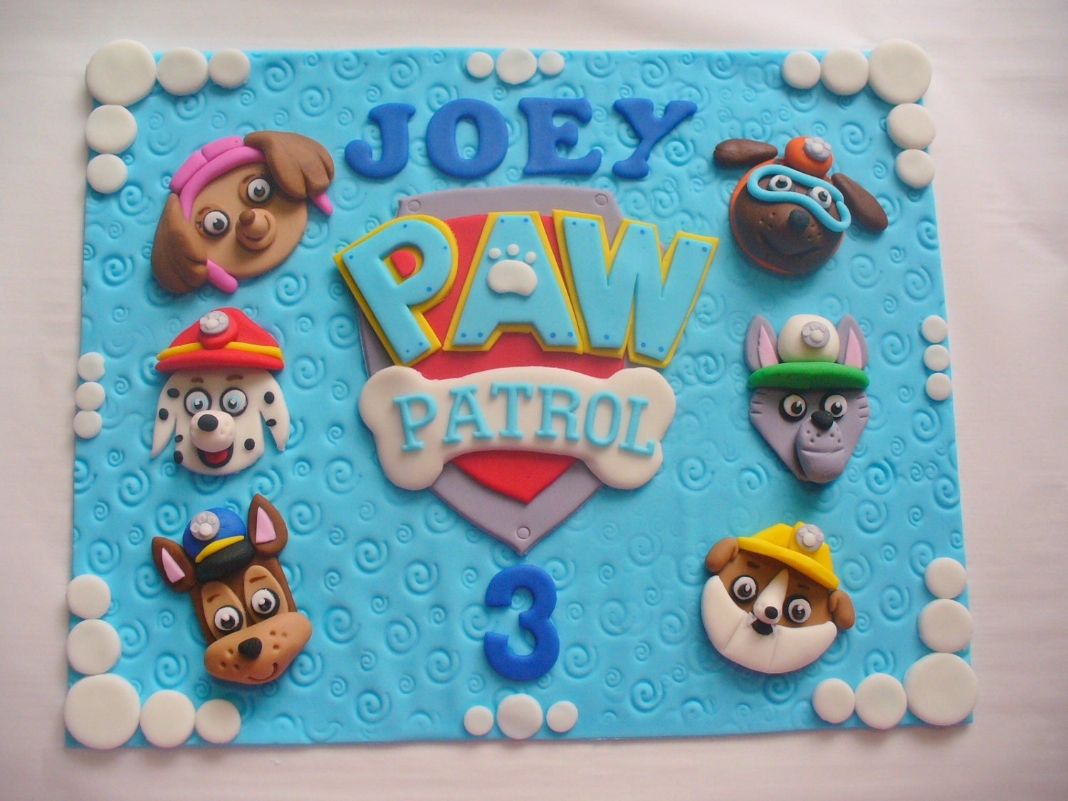 PAW PATROL Personalized Ediible Fondant Cake Topper Plaque for